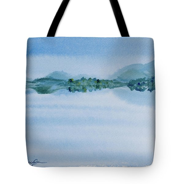 Reflection Of Mt Rugby In Bathurst Harbour Tote Bag