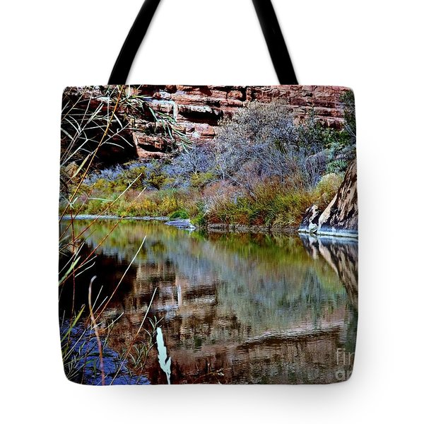 Reflections In Desert River Canyon Tote Bag by Annie Gibbons