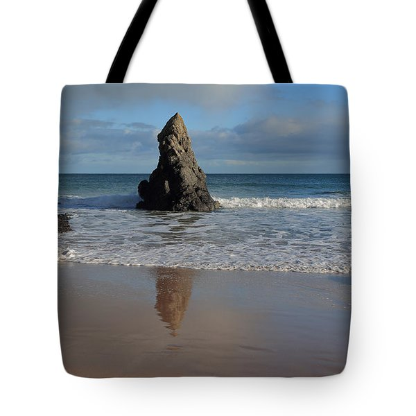 Tote Bag featuring the photograph Reflections In Sand On Sango Bay by Maria Gaellman