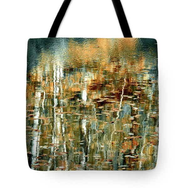 Tote Bag featuring the photograph Reflections In Teal by Ann Bridges