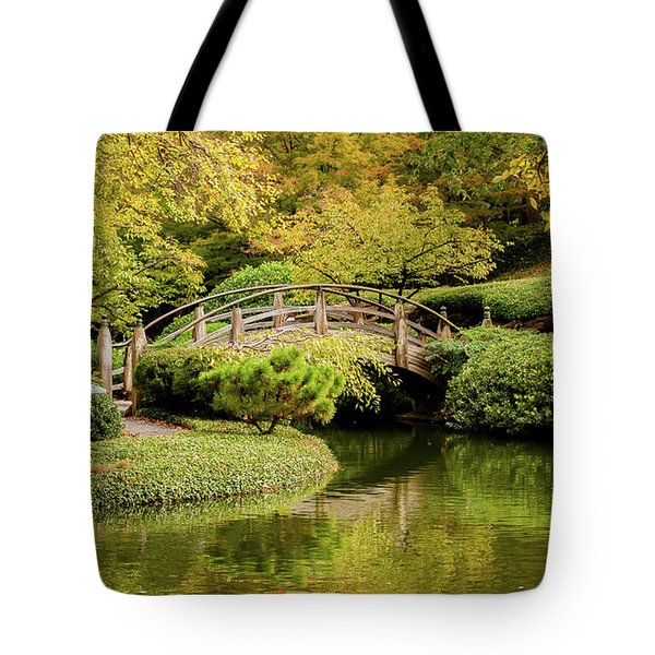 Tote Bag featuring the photograph Reflections In The Japanese Garden by Iris Greenwell