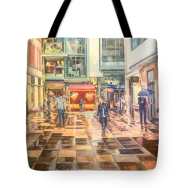 Reflections In The Pavement, Brown Street, Manchester Tote Bag