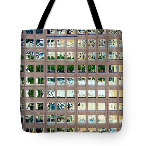 Reflections In Windows Of Office Building Tote Bag