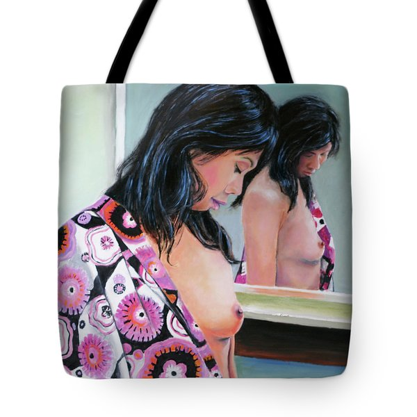 Tote Bag featuring the painting Reflections by Jeremy Holton
