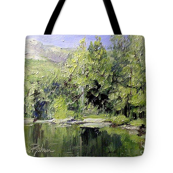 Tote Bag featuring the painting Reflections by Laurie Rohner