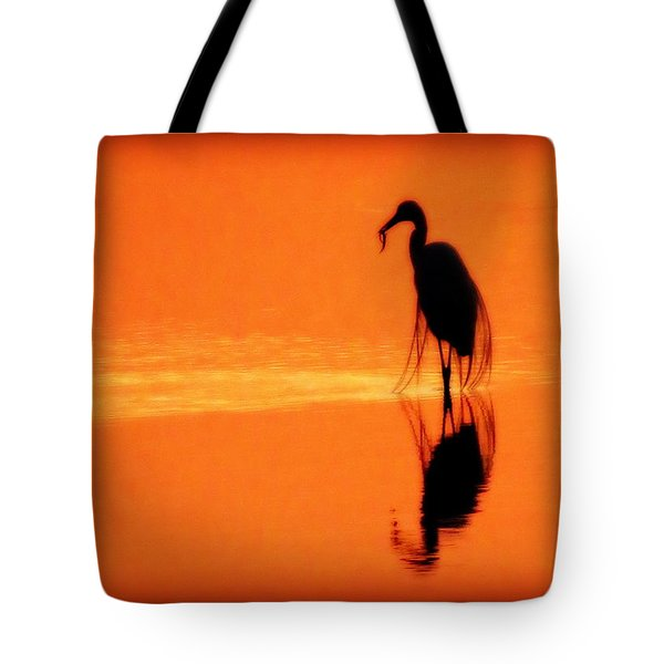 Reflections Of A Heron Tote Bag