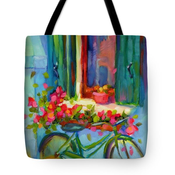 Tote Bag featuring the painting Reflections Of Burano by Chris Brandley