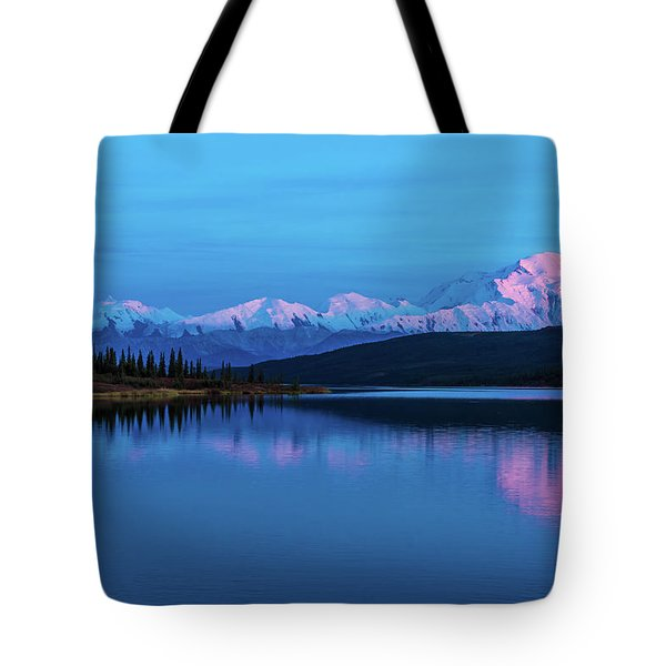 Sunset Reflections Of Denali In Wonder Lake Tote Bag