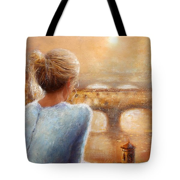 Tote Bag featuring the painting Reflections Of Florence by Michael Rock