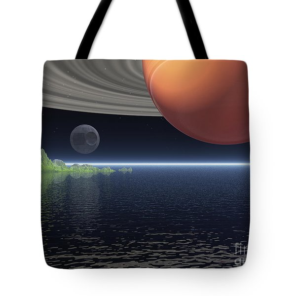 Tote Bag featuring the digital art Reflections Of Saturn by Phil Perkins