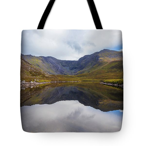 Tote Bag featuring the photograph Reflections Of The Macgillycuddy's Reeks In Lough Eagher by Semmick Photo