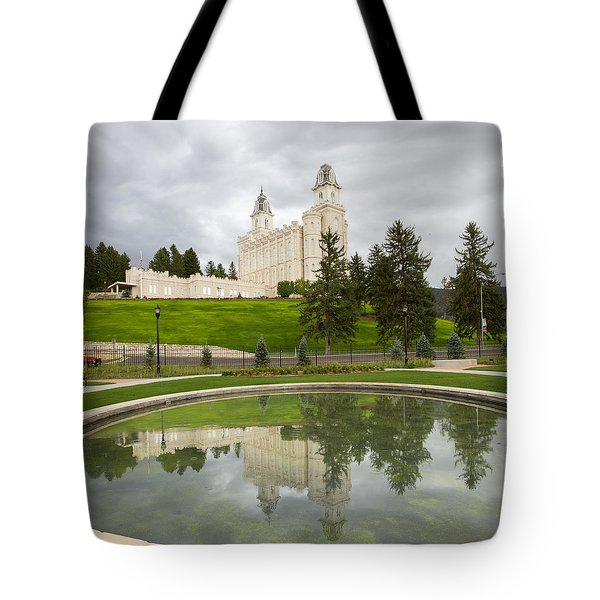 Reflections Of The Manti Temple At Pioneer Heritage Gardens Tote Bag
