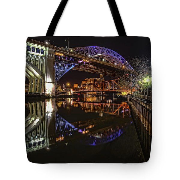 Reflections Of Veterans Memorial Bridge  Tote Bag by Brent Durken