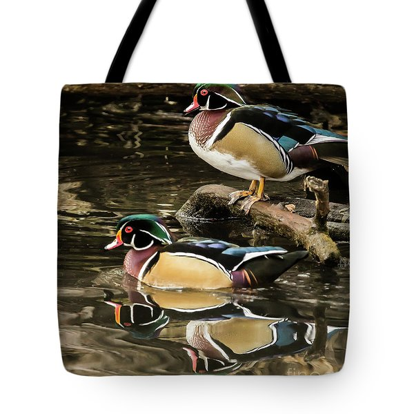 Reflections Of You And Me Wildlife Art By Kaylyn Franks Tote Bag
