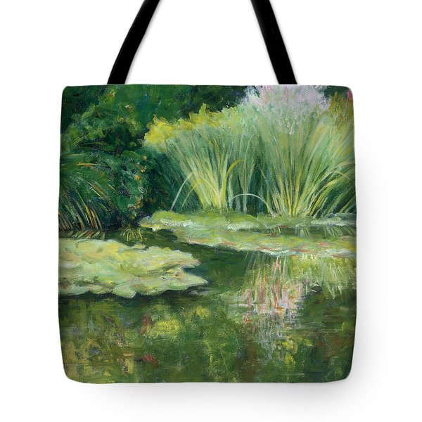 Reflections On Monets Lily Pond Tote Bag