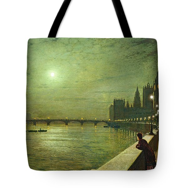Reflections On The Thames Tote Bag by John Atkinson Grimshaw