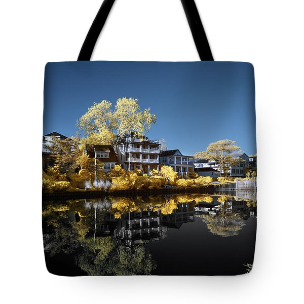 Reflections On Wesley Lake Tote Bag by Paul Seymour