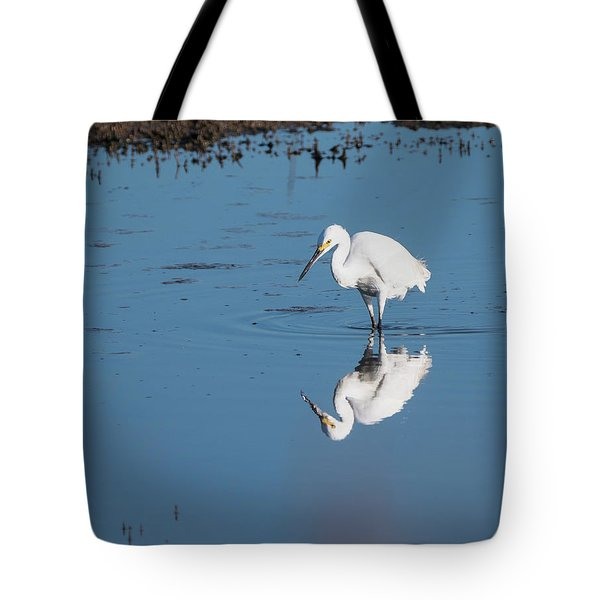 Reflections White Egret Tote Bag