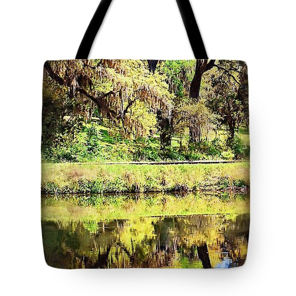 Tote Bag featuring the photograph Reflective Live Oaks by Donna Bentley