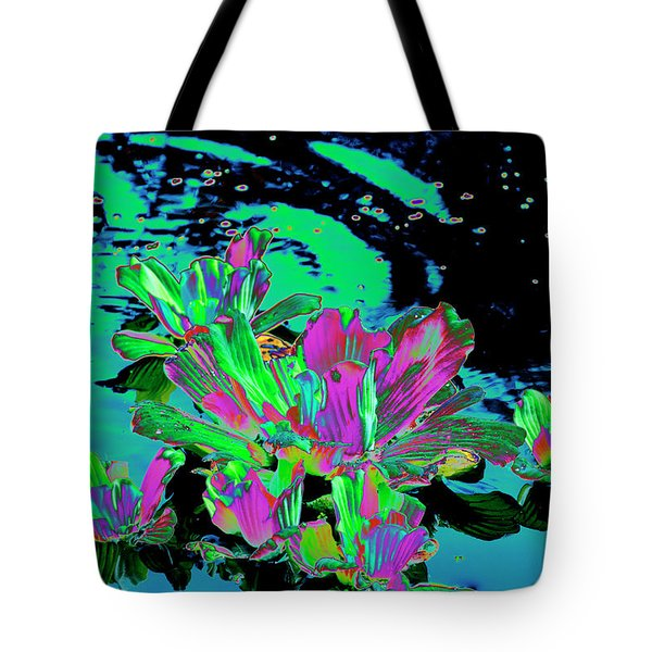 Reflexion Of Floating Flowers Tote Bag