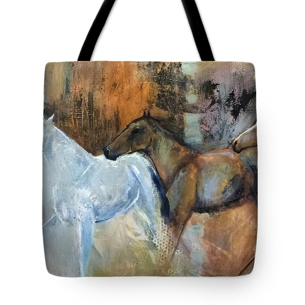 Tote Bag featuring the painting Reflextion Of The White Horse by Frances Marino