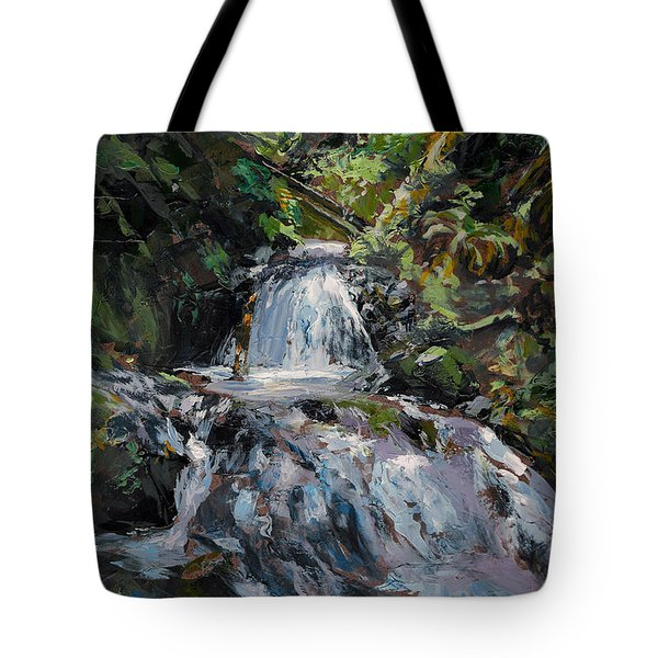Tote Bag featuring the painting Refreshed - Rainforest Waterfall Impressionistic Painting by Karen Whitworth