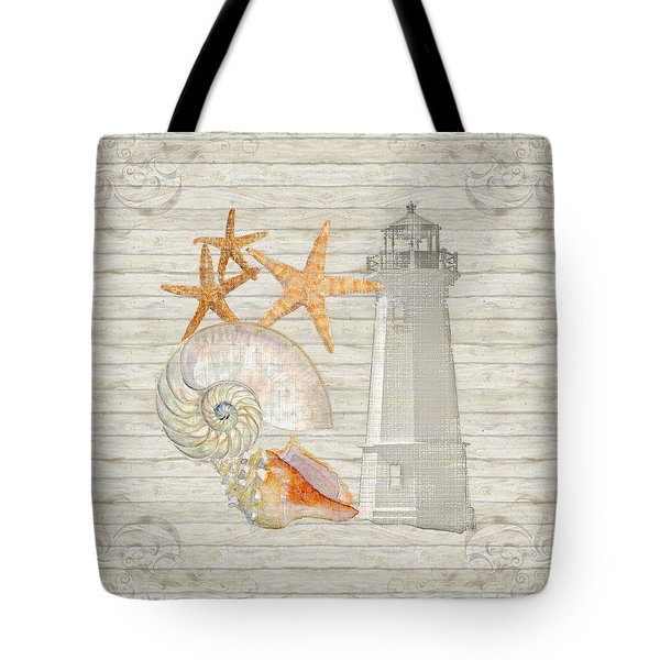 Refreshing Shores - Lighthouse Starfish Nautilus N Conch Over Driftwood Background Tote Bag
