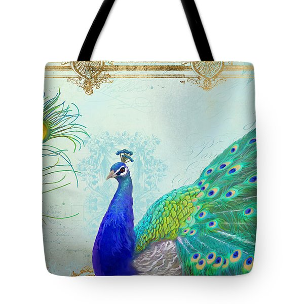 Regal Peacock 2 W Feather N Gold Leaf French Style Tote Bag