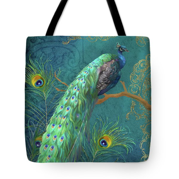Tote Bag featuring the painting Regal Peacock 3 Midnight by Audrey Jeanne Roberts