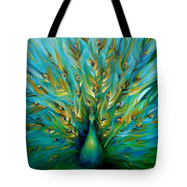Tote Bag featuring the painting Regal Peacock by Dina Dargo