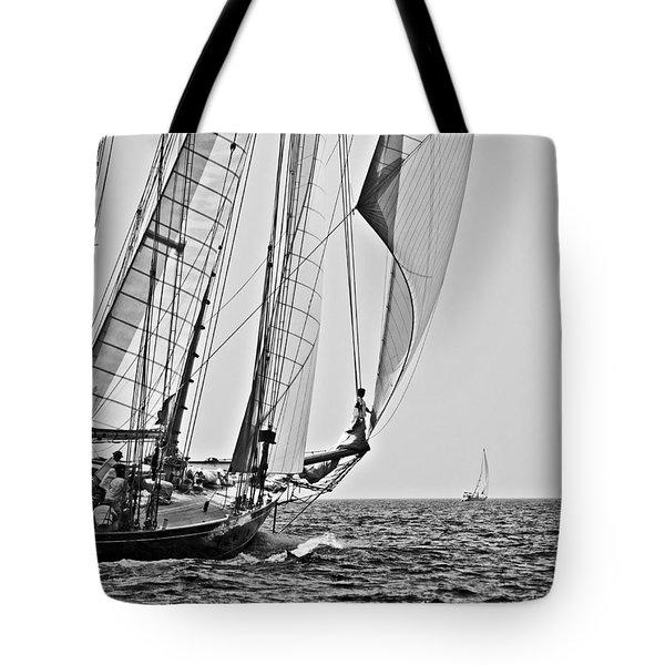 Regatta Heroes In A Calm Mediterranean Sea In Black And White Tote Bag