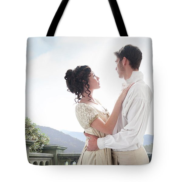 Regency Couple Embracing On The Terrace Tote Bag