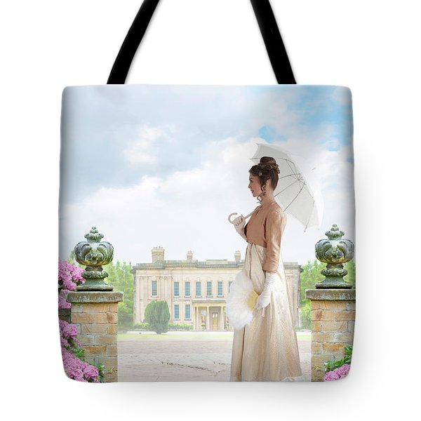 Regency Woman In The Grounds Of A Historic Mansion Tote Bag