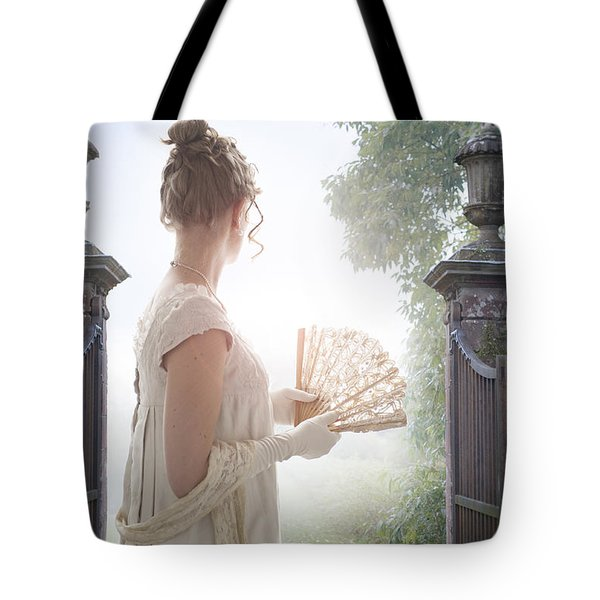 Regency Woman Looking Through A Gateway Tote Bag