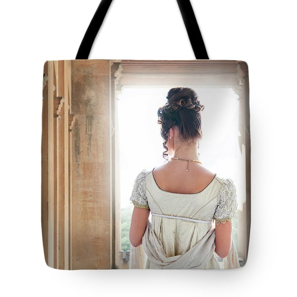 Regency Woman Under A Colonnade Tote Bag