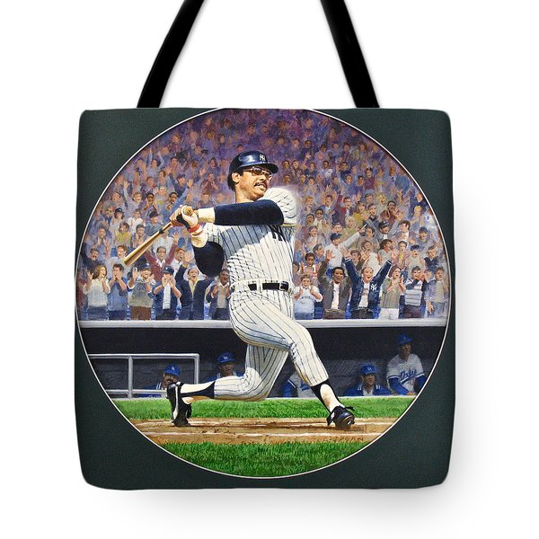 Tote Bag featuring the painting Reggie Jackson by Cliff Spohn