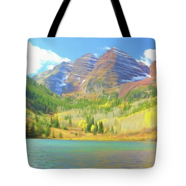 Tote Bag featuring the photograph The Maroon Bells Reimagined 1 by Eric Glaser