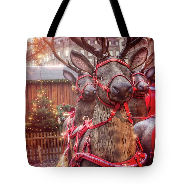 Reindeer At Copenhagen Christmas Market Tote Bag