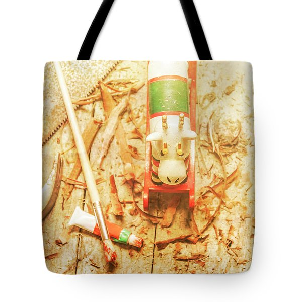 Reindeer With Tools And Wood Shavings Tote Bag