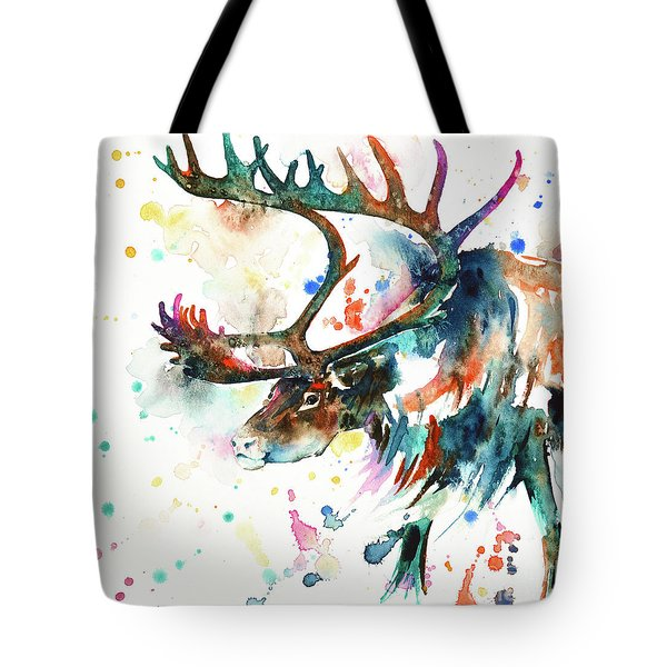 Tote Bag featuring the painting Reindeer by Zaira Dzhaubaeva