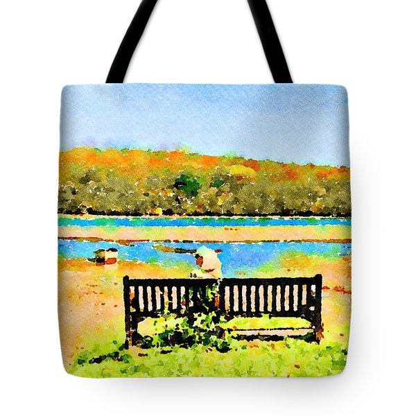Tote Bag featuring the painting Relax Down By The River by Angela Treat Lyon