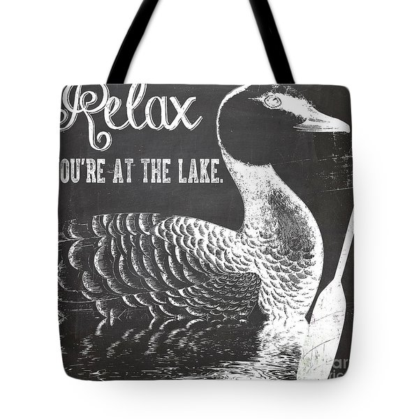 Relax Lake House Duck Sign Tote Bag