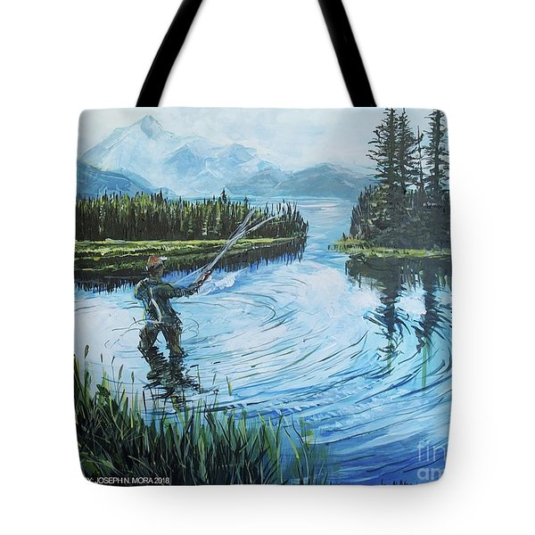 Relaxing @ Fly Fishing Tote Bag