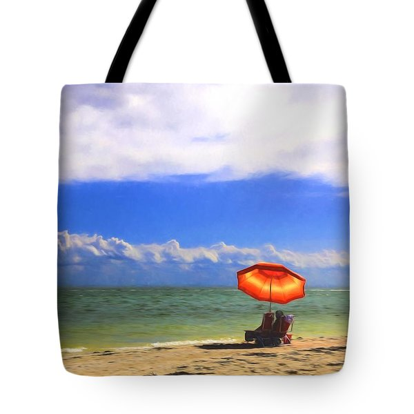 Relaxing On Sanibel Tote Bag by Sharon Batdorf