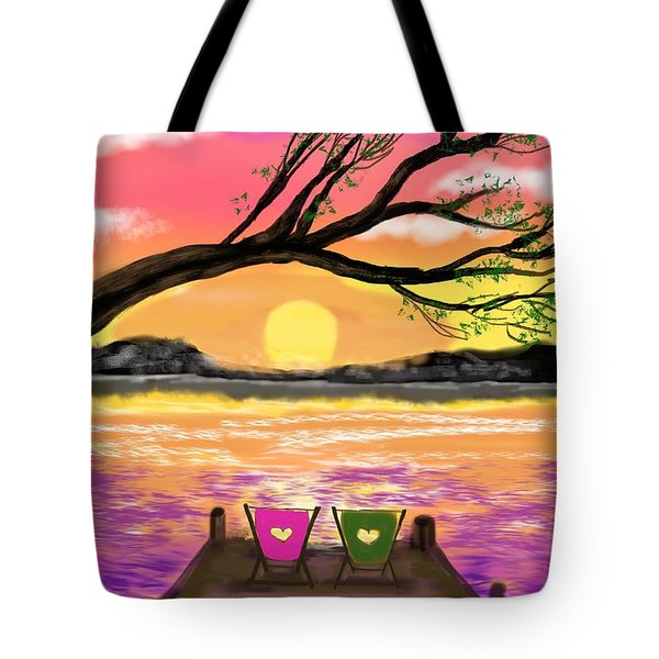 Relaxing On The Dock Tote Bag by Diana Riukas