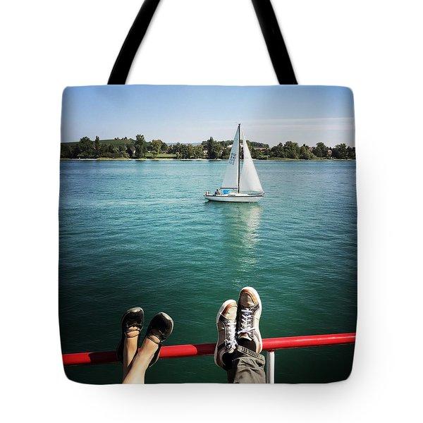Relaxing Summer Boat Trip Tote Bag