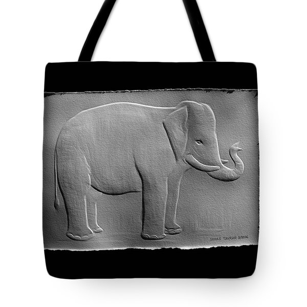 Relief Elephant Drawing Tote Bag