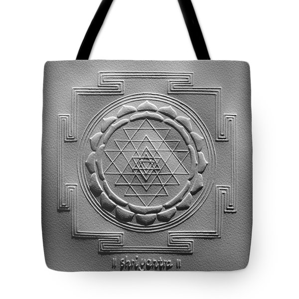 Tote Bag featuring the relief Relief Shree Yantra by Suhas Tavkar