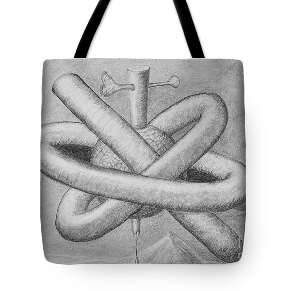 Tote Bag featuring the drawing Religion Of Science by Yulia Kazansky