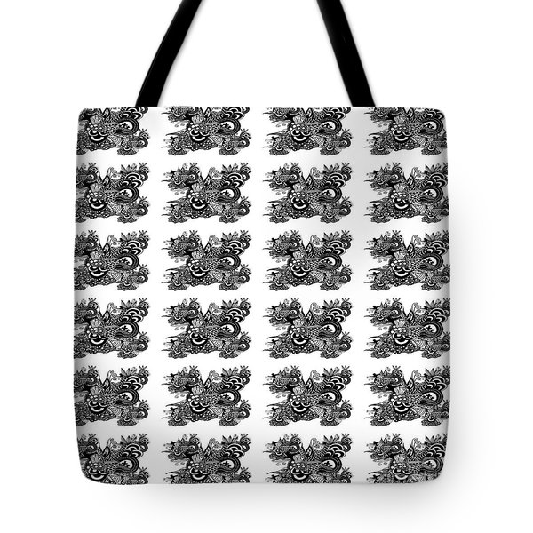 Tote Bag featuring the drawing Religious Illustration Because I Love You Black And White Pattern by Saribelle Rodriguez